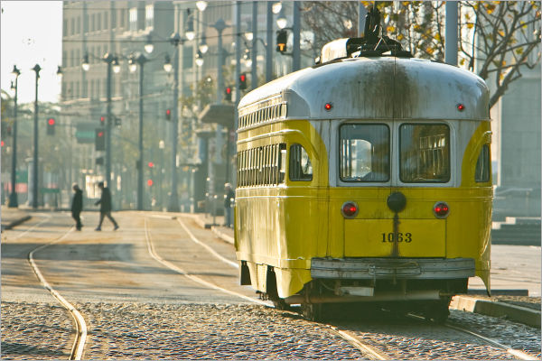 "Yellow ""F"" Line trolley in San Francisco"