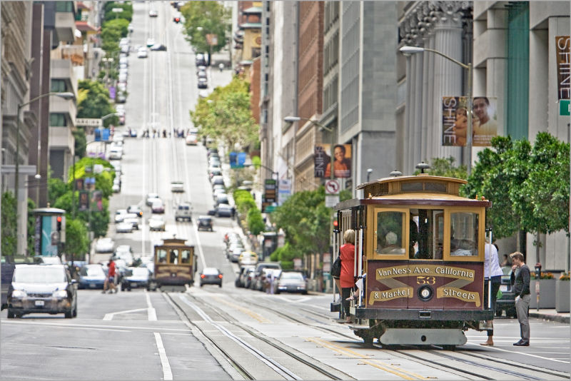 California Street Cable cars in San Francisco