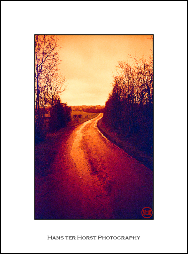 Country road, redscale version