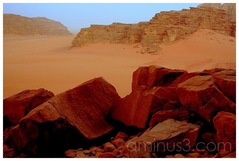 Chocolate Boulders -- Red Sand, Wadi Rum, Jordan