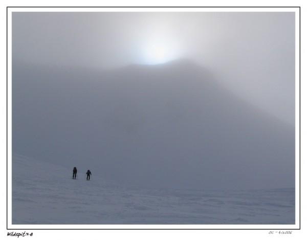 wildspitze mountains ski ascent foggy fog