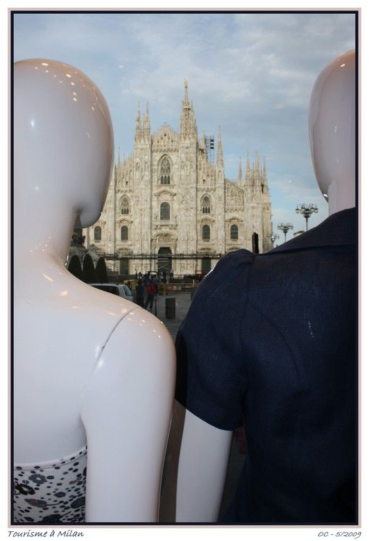 amazing tourists in Milano in front of the Duomo