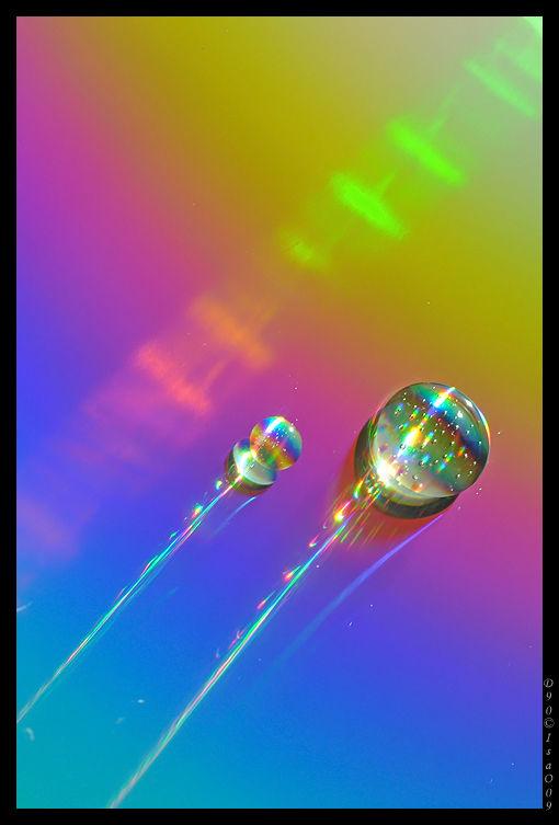 Gouttes à bulles sur arc-en-ciel 2