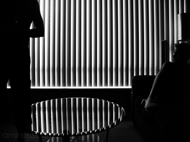 two silhouettes on either side of vertical blinds