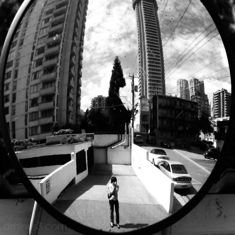city through a convex mirror
