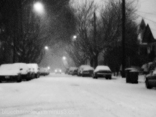 Snow storm on a quiet car lined street