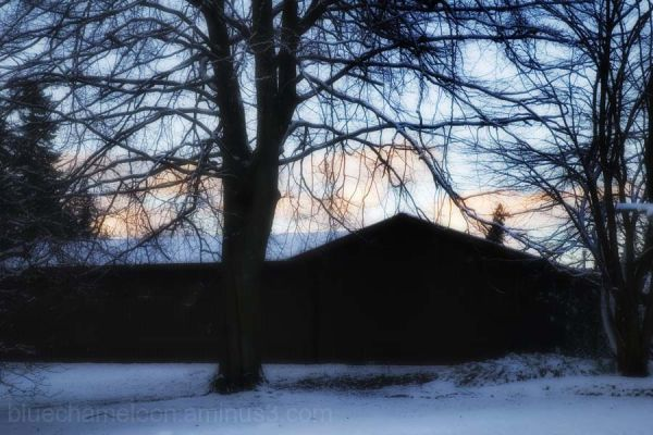 A barn in the snow at dusk