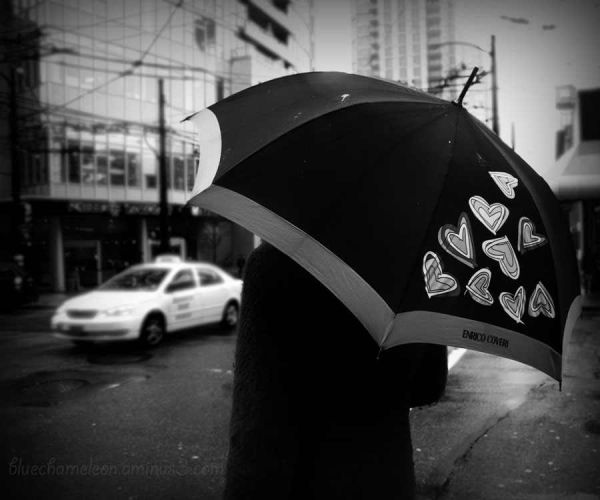 A woman with hearts on her umbrella