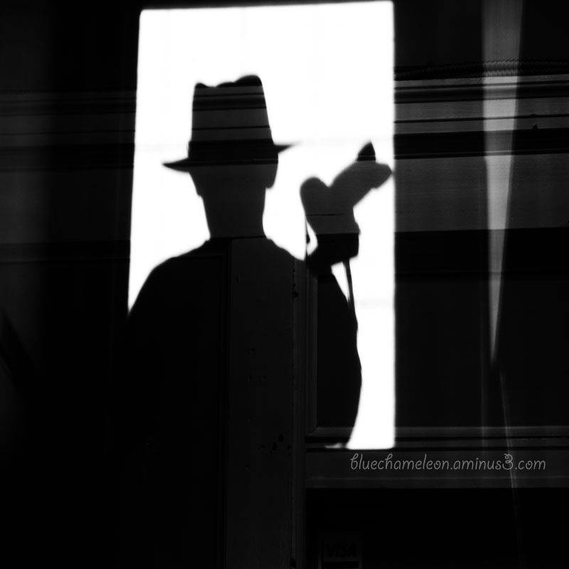 The shadow of a man wearing a hat,  holding camera