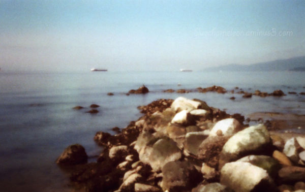 Rocks in the foreground with the ocean and ships