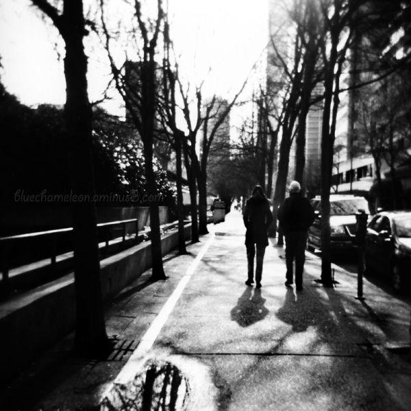 Two people in silhouette walking down street