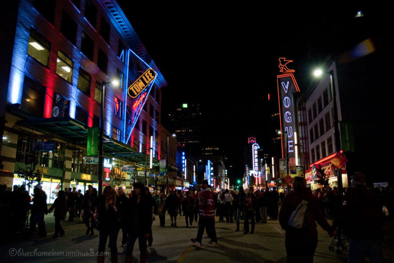 A crowd of people on granville, vancouver 2010