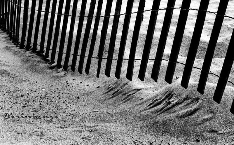 A fence in the sand at venice beach