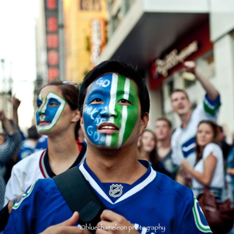 fans in vancouver celebrating vancouver canucks