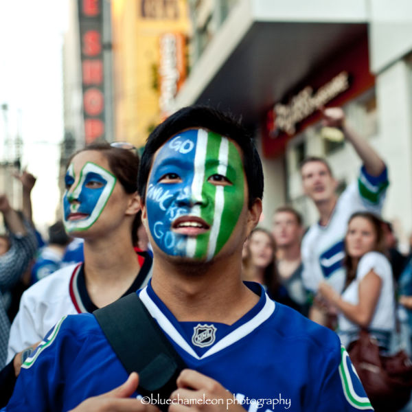 fans in vancouver celebrating vancouver canucks