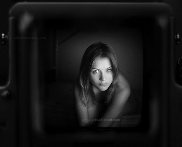 Portrait shot through a weist level finder