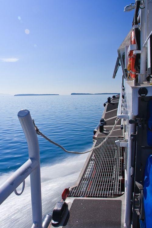 speeding boat on Lake Superior