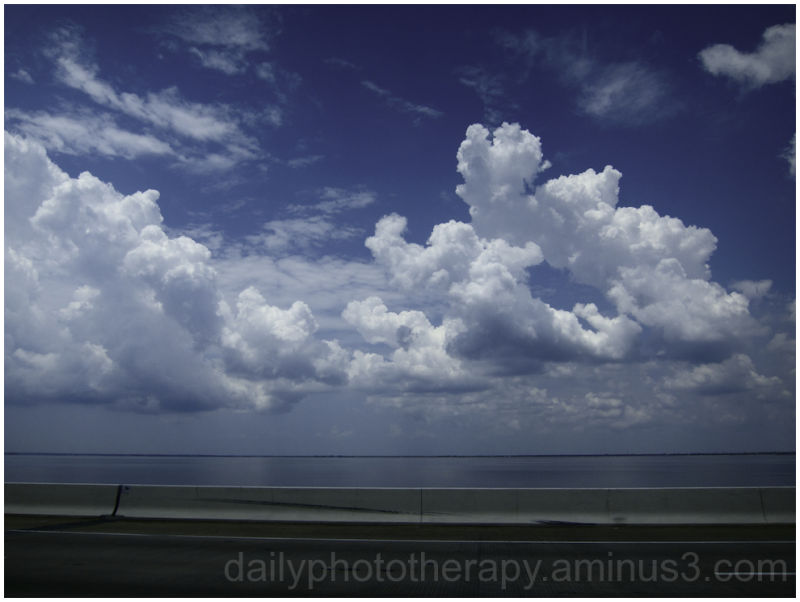 Sky clouds blue bay Tampa bridge Howard Frankland