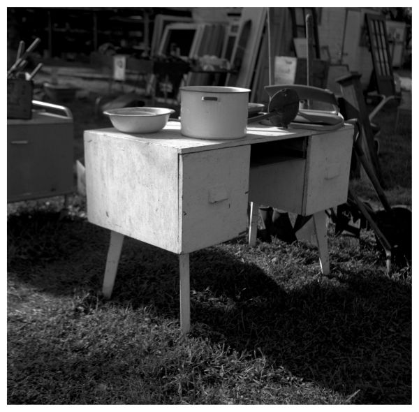 sparks, ks flea market - desk / b&w photo