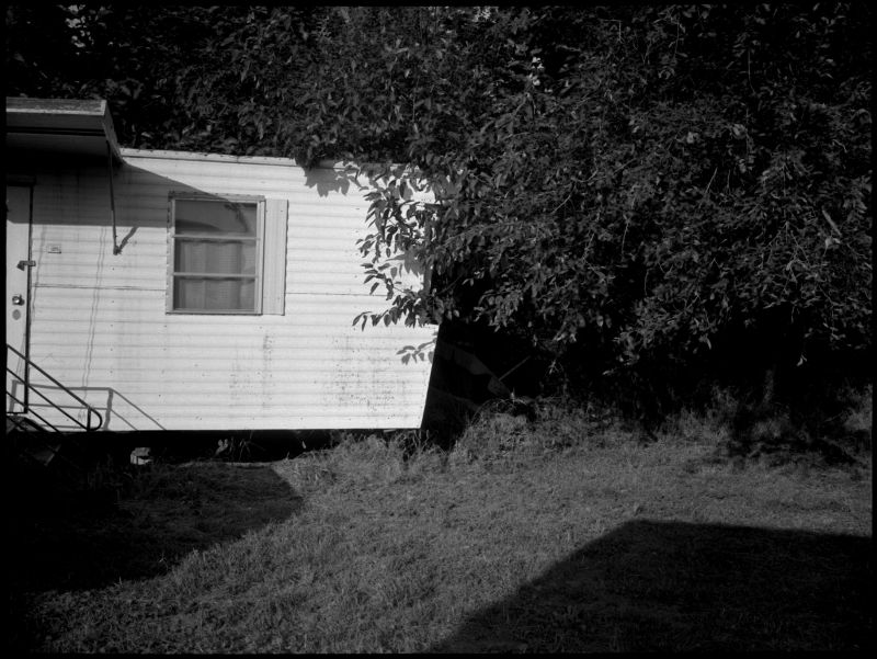 mobile home, sparks, ks - fuji gs645, b&w photo
