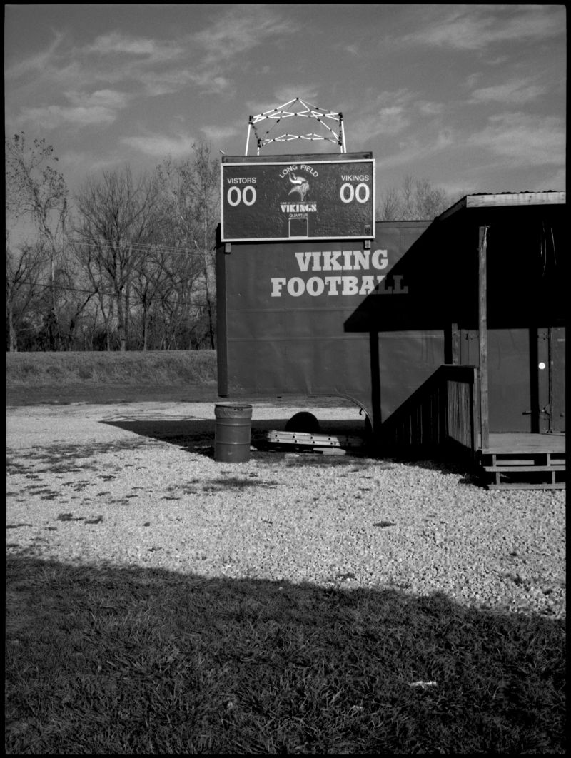 viking high school football trailer - b&w photo