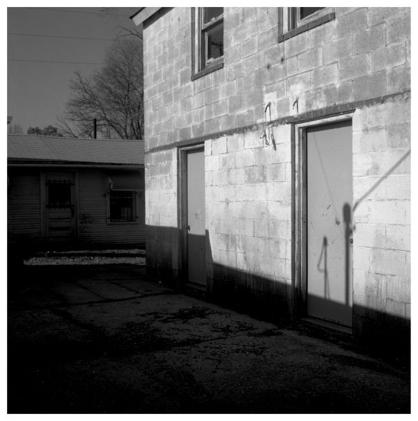 garage and sheds, kcmo - b&w photo