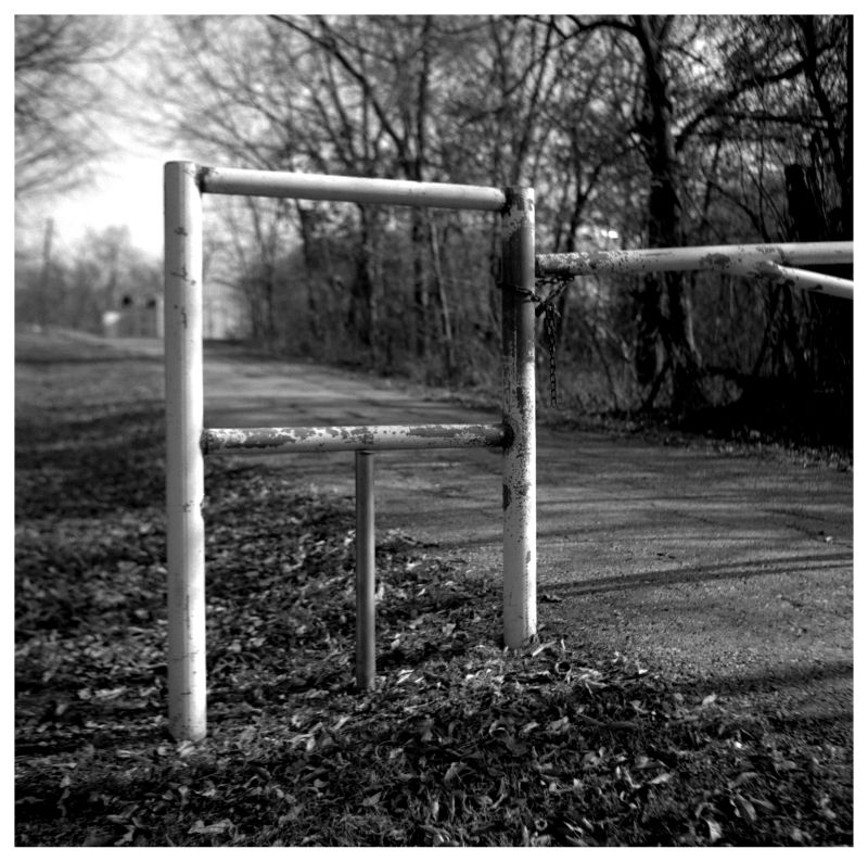 metal gate, rural road - b&w photo
