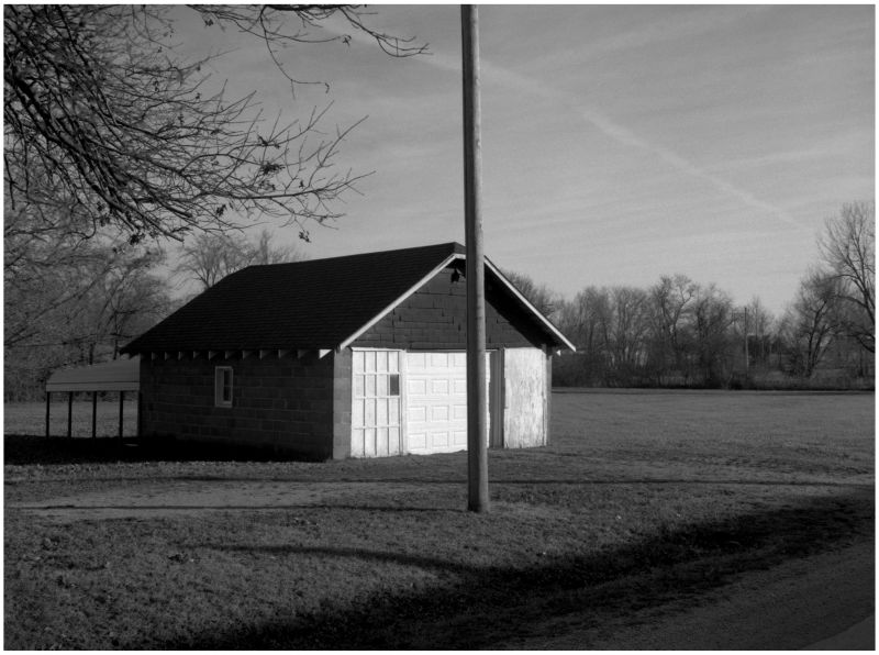 garage - archie, missouri - b&w photo