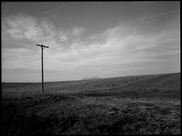 farm field - sparks, kansas area - b&w photo