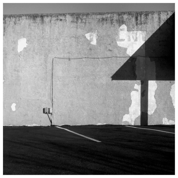 wall and shadows - rolleiflex - b&w photo