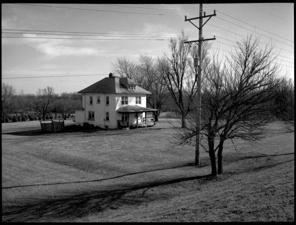photograh, black & white - kansas farm house