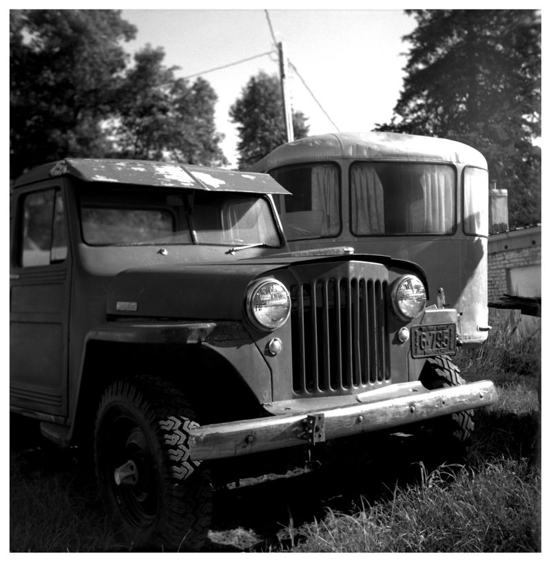 old jeep and camper - rural kansas