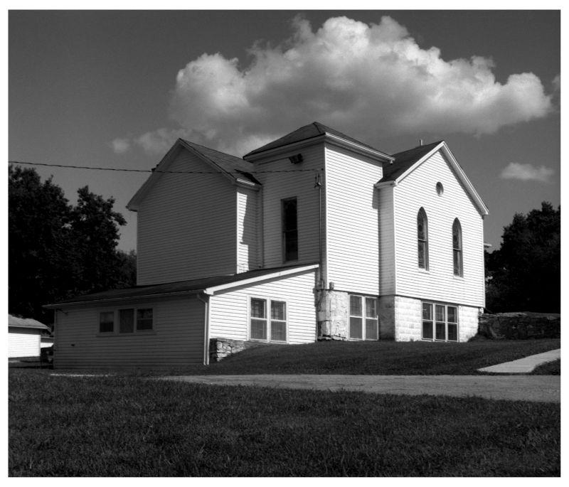 small white church in leavenworth, kansas