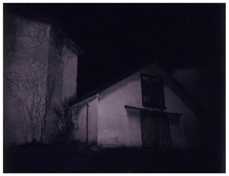 longview farm barn at night - polaroid photo