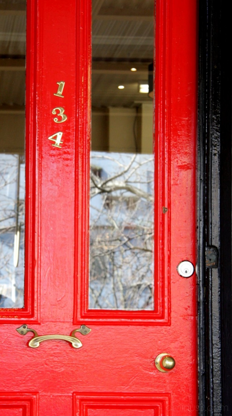 Red door reflections