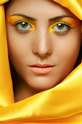 Muslim girl in yellow dress