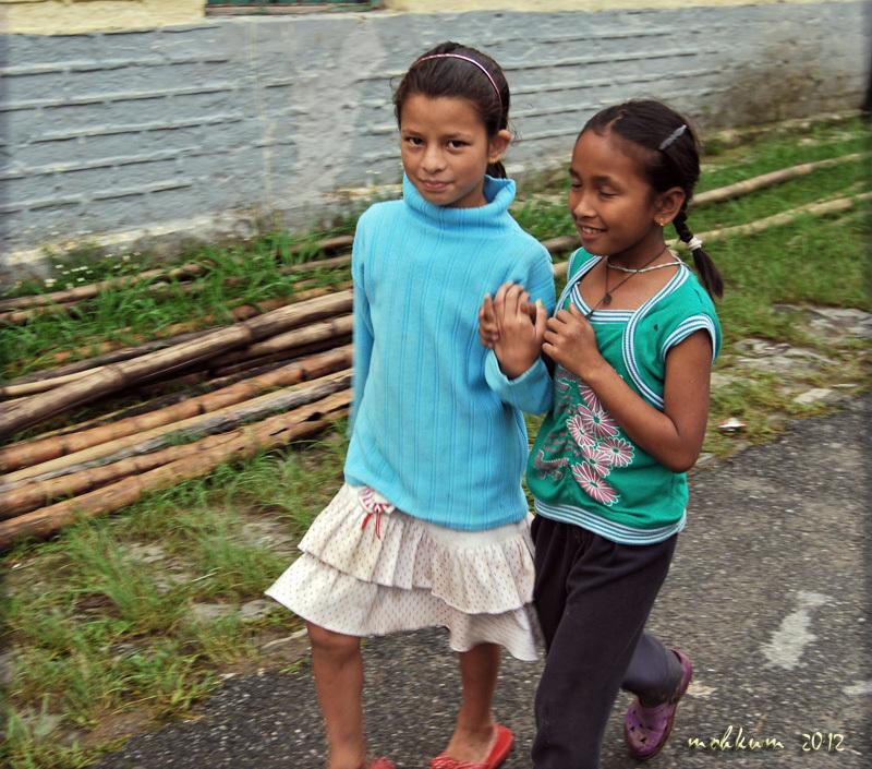 Two cute little girls on a walk!