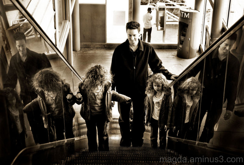 """Daddy says """"No more playing on the escalator!"""""""