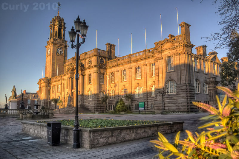 South Shields Town Hall at sunset