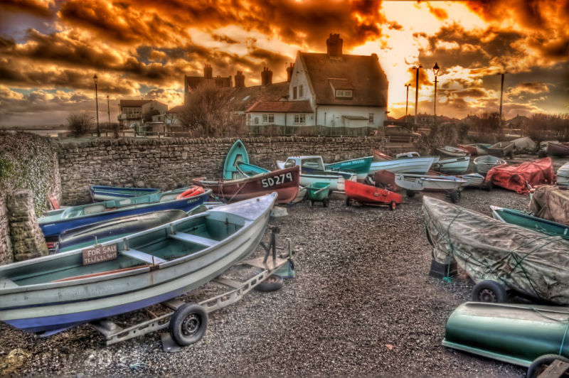 Boats at Whitburn near South Shields