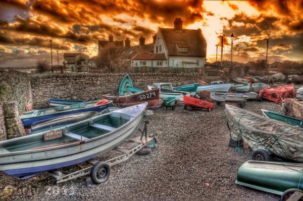 Boats at Whitburn near South Shields