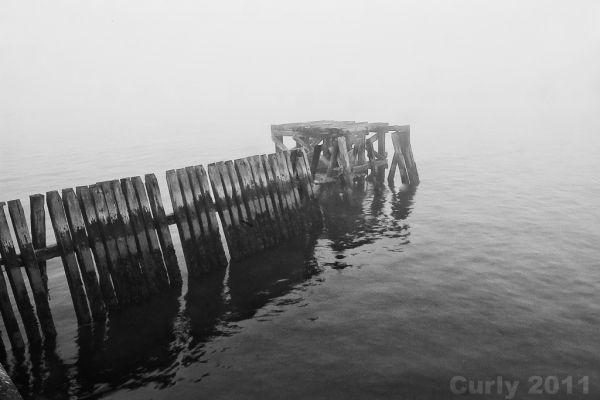 River Tyne in fog, South Shields