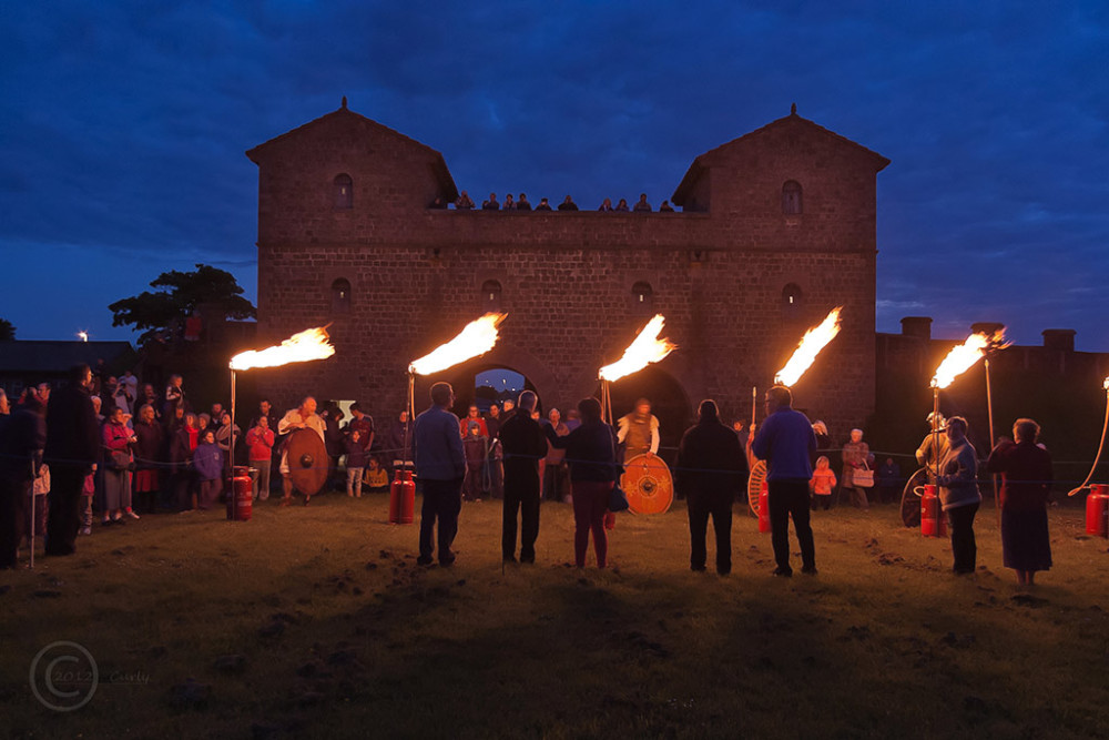 Beacon lighting at Roman Fort, South Shields