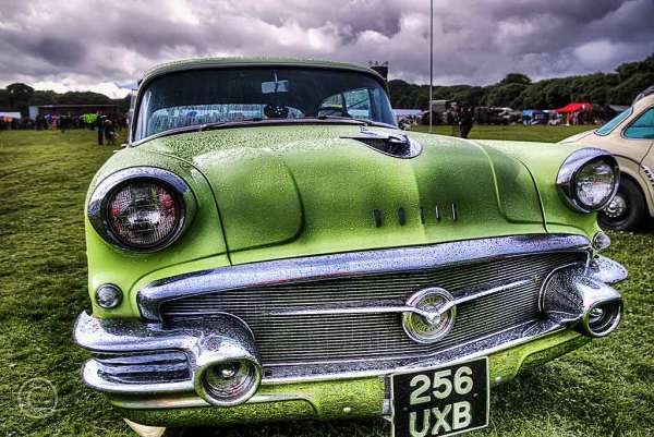 Wet but bright Buick.