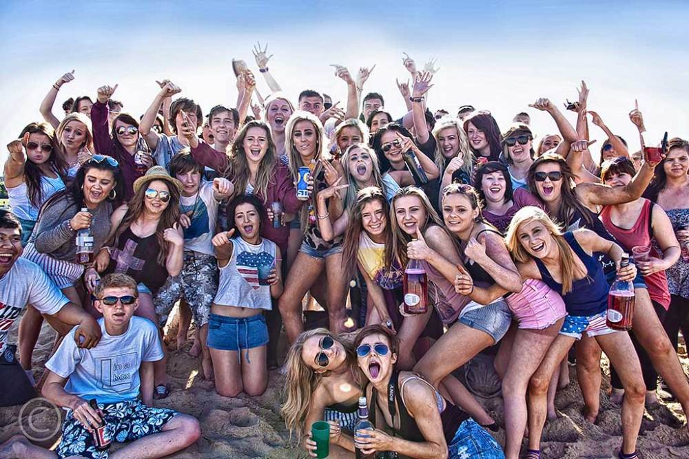 Gateshead school leavers on South Shields beach