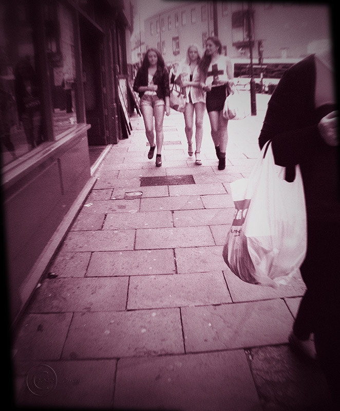 Girls in Crossgate, Durham, England, instamatic