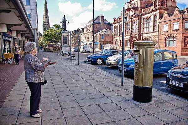 Olympic Gold post box in Jarrow.
