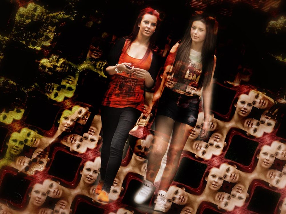 Two girls in Saltwell Park, Gateshead.