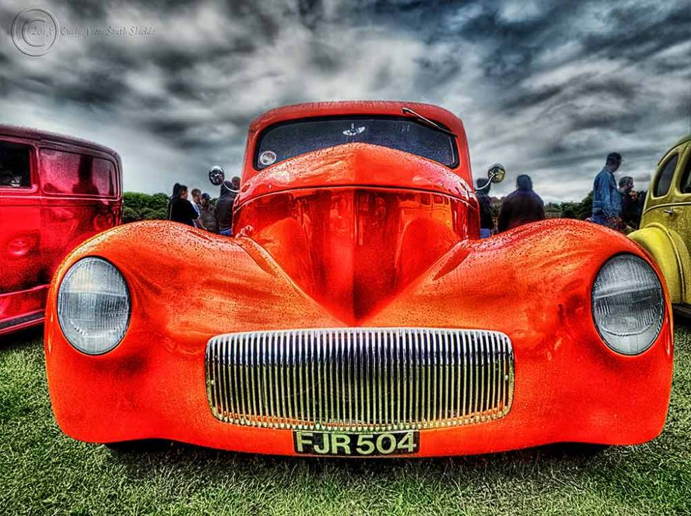 Red car, Bents Park, South Shields UK