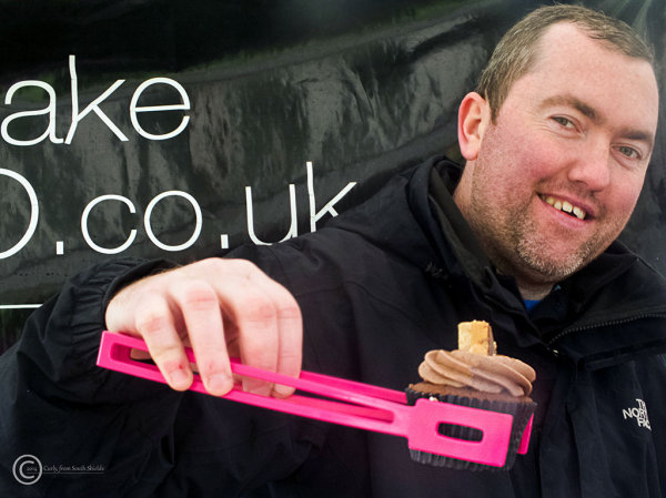 Baker with cupcake in South Shields UK